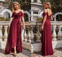 Burgundy Bridesmaid Dresses 2021 A Line Chiffon Spaghetti Straps Sleeveless Elegant Wedding Party Dress For Women Ruffles Hi-lo Maid Of Honor Gowns Country AL8961
