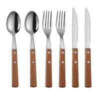 Tablewellware Silverware Tableware Fork Spoon Knife Set 6pcs Cutlery Set Kitchen Dinnerware Set Stainless Steel with Wood Holder