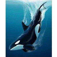 Målningar Inramad Olja Bild av Numbers Kits För Vuxna Dolphin Whale Paint DIY Present Handmålat Modern Heminredning Hantverk