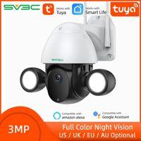 Cameras Smart Tuya Floodlight Camera Outdoor Waterproof 3MP PTZ WiFi IP Home Garden CCTV Security Courtyard Lighting Cam