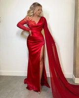 2021 Plus Size Arabic Aso Ebi Red Lace Beaded Prom Dresses Sheer Neck High Split Evening Formal Party Second Reception Gowns ZJ954