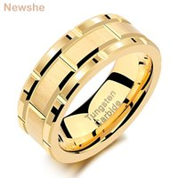 she Mens Tungsten Carbide Ring 8mm Yellow Gold Color Brick Pattern Brushed Bands For Him Wedding Jewelry Size 9-13