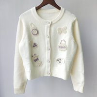 Shipping Free 2021 Autumn White Lavender Animal Beads Embroidery Autumn Women's Cardigan Brand Same Style Women's Sweaters DH2304