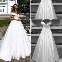Elegant Satin Wedding Dresses Bridal Gown Sweep Train A Line Custom Made Plus Size Beach Off the Shoulder Sleeveless Garden vestido de novia 2022 Simple