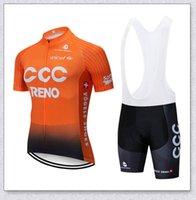 CCC 팀 사이클링 짧은 소매 저지 턱받이 반바지 세트 망 레이싱 의류 산악 자전거가 통기성 자전거 운동복 ropa ciclismo