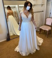 Plus Size Boho Pastoral Wedding Dresses Bridal Gowns Illusion Long Sleeve Sheer Back Appliques Lace Chiffon Elegant Vestido De Noiva