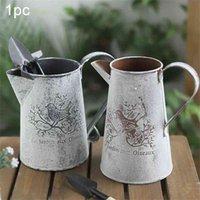 Blumenhandwerk Home Decor Shabby Leicht zu lagern Vogeldruck Umweltfreundliche Garteneisen Vase Watering Pot Form Vintage Alte Galvanized 210409