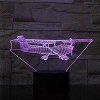Acrylic 3D Desk Lamp Bedside Kids Night Sensor Light LED Jet Aircraft Nightlight Color Changing Birthday Holiday Gift Bluetooth Base