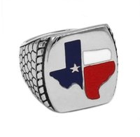 Classico American Texas Flag Bandiera Biker Anello Gioielli in acciaio inox Vintage per uomini regalo SWR0681