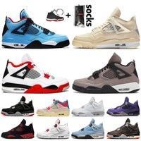 Nike Air Jordan 4 4s Off White Jordan 4 Travis Scott أحذية كرة السلة للرجال والنساء باللون الأحمر الداكن الداكن المدربين من جامعة Oreo Thunder Black Cat الرياضية