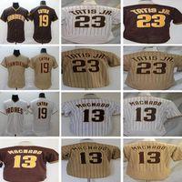 Mens Fernando 23 Tatis Jr. Бейсбол Джерси Мэнни 13 Мачадо Белые Черные Джетки Спорт Все сшитые Размер S-XXXL
