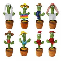 LED Gadget Funny Dancing Cactus Singing Twisting Electric Shake Songs Plush Toys Children Early Childhood Education Gift Table Decoration