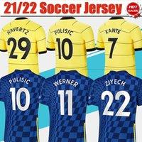 # 10 Pulisic # 7 Kante Home Blue Soccer Jerseys 21/22 # 11 Werner # 19 Mount Away Gelbfußball Hemden 2021/2022 Angeschnitten # 29 Havertz # 9 Abraham Football Uniformen