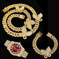Chains 3pcs Kit 12MM Hip Hop Iced Out Full Miami Paved Rhinestones Curb Butterfly Cuban Necklace+Watch+Bracelet For Men Jewelry