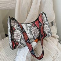 Snakeskin padrão de noite saco de noite moda hit cor ombro trendy zipper bolsas para mulheres 2021 textura axila