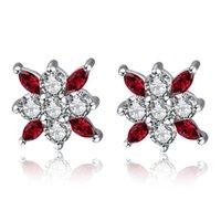 스털링 실버 귀걸이 스터드 붉은 꽃 지르콘 다이아몬드 귀걸이 쥬얼리 여성을위한 18K 화이트 골드 도금