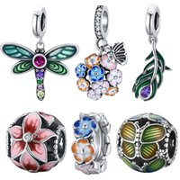 bamoer Authentic 925 Sterling Silver Shiny Dragonfly Charm for Original Silver DIY Bracelet or Bangle jewelry Make beads SCC1706 1923 Q2