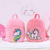 Gloveleya Animal Plush Backpack Lovely Horse Cartoon Backpack Child School bag Unicorn Plush Dolls Soft Plush Baby School Bag 210331