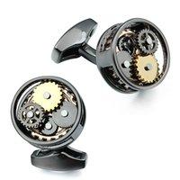 Пистошенные черные круглые часы механические движения запонки для свадебных жениховкой деловая вечеринка Proms Formation Drees