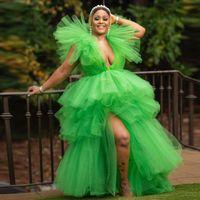 Сексуальная трава зеленый тюль выпускного вечера платья rush Tiered юбка 2021 очаровательный глубокий V-образным вырезом сторона сплит длительное особое случаи платья танцы вечерняя вечеринка