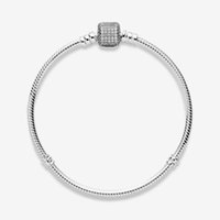 Women Fine Jewelry Charm Bracelets Fit Pandora Beads s925 Sterling Silver Top Quality Cubic Zircon Pave Clasp Lady Gift With Original Box
