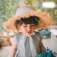 Fashion Ribbon Girl Sun Hat 52cm Head Size Kids Summer Beach Women Raffia UV Hats 57 Heads Sizes NH401 Boy