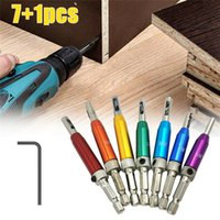 7+1Pcs HSS Door Self-centering Hinge Drill Bit Set Hinge Tapper Core Screw Hole Puncher Woodworking Tools with Wrench