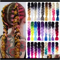 24-дюймовые плетеные расширения Джумбо вязание крючком Синтетический стиль 100 Гпк чистая блондинка розовый зеленый 74GPW Bulks 3CTIW
