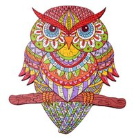 بانوراما خشبي الألغاز - البومة الملونة hartmaze الطيور الصغيرة لغز 140 شكل فريد من نوعها بانوراما الحيوانات الجميلة للبالغين و 14 سنة