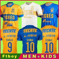 Men2020 المكسيك UANL Tigres Soccer Jersey 7 نجوم C.Salcedo Gignac Vargas Pizarro Football Jersey Kid Kit Camiseta de Tigres UANL 20/21 Liga
