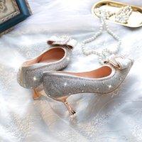 Dress Shoes 7cm High Heels 2021 Shining Rhinestones Pointed Toe Pumps Woman Fashion Bow Wedding Banquet Ladies
