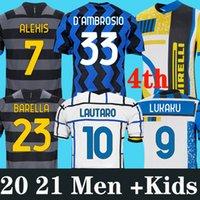 Inter 2020 2021 Jersey de futebol Lukaku Milão Vidal Barella Lautaro Eriksen Alexis Hakimi 4th 20 21 Uniformes de Camisa de Futebol Homens Kit Kit Quarto