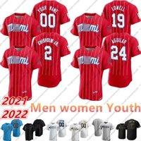 2021 사용자 정의 저지 2 재즈 chisholm JR 21 22 MARLINS 15 Brian Anderson 19 Miguel Rojas 24 예수 Aguilar 남성 여성 청소년 야구 유니폼