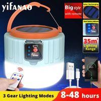 Solar LED Lanternes portables Portable Camping Light USB Ampoule rechargeable pour lampe de tente extérieure Lumières de secours BBQ