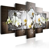 Impresiones modernas Flores de orquídeas Pintura al óleo sobre lienzo Arte Flores Fondos de pared para sala de estar y dormitorio (sin marco) 624 S2