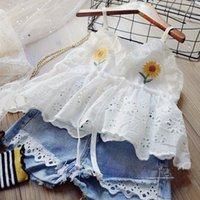 어린이 디자이너 의류 수 놓은 레이스 슬링 티셔츠 + 청바지 2pcs 세트 민소매 아기 소녀 옷 정장 부티크 의류