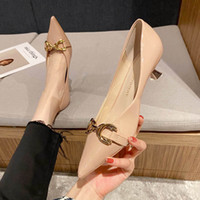 Dress Shoes Luxury Autumn 2021 Metal Decorative High Heels Solid Color Pointed Thin Heel Single Women's Ol Profsional Middle Heel