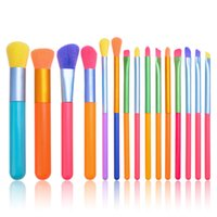 10 15Pcs Colorful Makeup Brushes Set Face Powder Foundation Blush Concealers Eye Shadows Lip Make Up Brush beauty tools