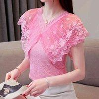 여성 탑스 블라우스 레이스 반팔 여성 시폰 블라우스 셔츠 섹시한 중공 핑크 수 놓은 V 넥 여성 셔츠 T200321