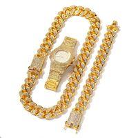 3 pcs colar + relógio + pulseira hip hop miami freio Corrente cubano ouro completo gelado fora pavimentada rhinestones cz bling para homens jóias