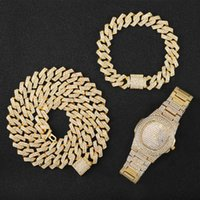Chains Necklace +Watch+Bracelet Hip Hop Miami Curb Cuban Chain For Men Jewelry Gold Iced Out Paved Rhinestones CZ Bling Rapper