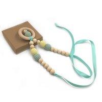 Bebê chupeta colar multi-colorido diversidade DIY detentores de chupeta molar madeira natural brinquedo crochet lã grânulos gga4747