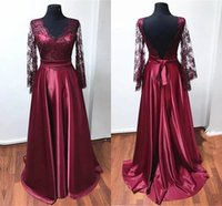 Vintage Real Photo Burgundy Evening Mother of the Bride Dresses 2022 With Long Illusion Lace Sleeves V neck Backless A line Satin Party Bridesmaid Prom Dress