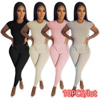 Women's Two Piece Pants 10PCS Women 2 Matching Set Nightclub Sportswear Sexy Bandage Crop Top Tracksuit Wholesale Lots Clothing