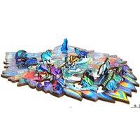 Newwooden Puzzle Jigsaw Creative Gifts para niños 8 estilos Forma única Piezas de rompecabezas Guarding Dragon A4 Puzzles EWF5759