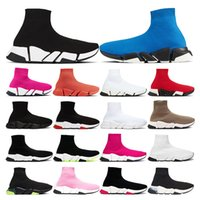 Tasarımcı Ayakkabı Hız eğitmen Yüksek Çorap Siyah Beyaz Kırmızı Bayan düz moda Casual platformu spor Sneakers boyutu 36-45
