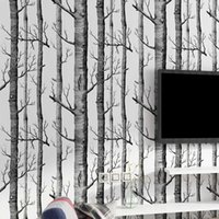 ريفي الخشب الحبوب لا ذاتية اللصق خلفيات أسود أبيض شجرة البتولا غابة ملصقات الحائط الاتصال ورقة الفروع جذع خلفيات Q0723