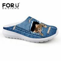 Forudesigns Mignon Pet Cat Denim imprimé Femmes Sandales Poids léger Slip sur l'été Beach Water Shoes Femelle Mocassins Respirant V1dy #