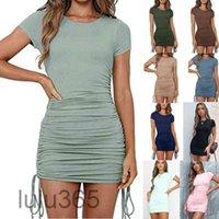 Damen neue massive farbe kleider designer populär rundhals mode beiläufig truge thread kurze hülse threadstring gepunktet kurz rack