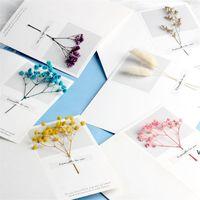 Цветы поздравительные открытки Гипсофила сушеные цветы Рукописные благословение поздравительные открытки на день рождения подарок карты свадебные приглашения DHA5022